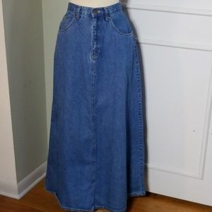Vintage high waist denim maxi